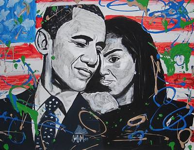 Michelle Obama Painting - Presidential Love by Antonio Moore