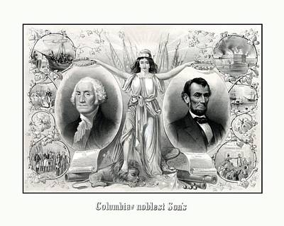 Columbia Mixed Media - Presidents Washington And Lincoln by War Is Hell Store