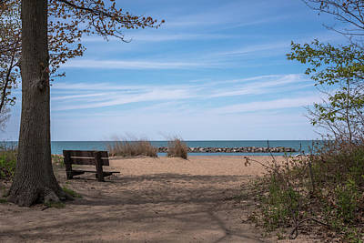 Photograph - Presque Isle Beach Bench Lake Erie Pa by Terry DeLuco
