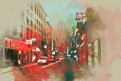 Digital Art - Presquile - Lyon Typical Street Scene by Paulette B Wright