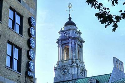 Photograph - Press Hotel And City Hall Clock Tower Portland Maine by Toby McGuire