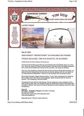 Press Release Carole Spandau Paints Cover Art For Hockeytown Cd By Tim Hus Art Print by Carole Spandau