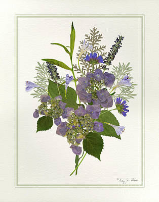Painting - Pressed Dried Flower Painting - Blue Hydrangeas Lavender Ferns by Audrey Jeanne Roberts