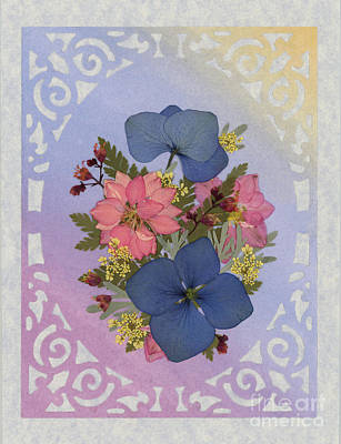 Pressed Flowers Arrangement With Pink Larkspur And Hydrangea Art Print