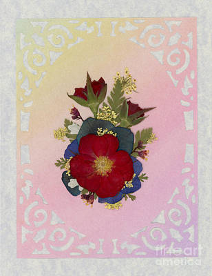 Pressed Flowers Arrangement With Red Roses Art Print