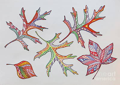 Reds Of Autumn Drawing - Pressed Leaves by Aimee Mouw
