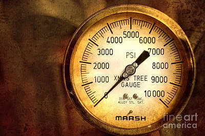 Nighttime Street Photography - Pressure Gauge by Charuhas Images
