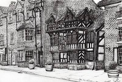 Pen And Ink Historic Buildings Drawings Drawing - Prestbury Nat West Bank by Vincent Alexander Booth