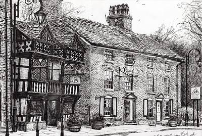 Pen And Ink Historic Buildings Drawings Drawing - Prestbury by Vincent Alexander Booth