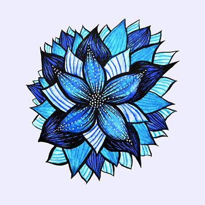 Abstract Flowers Royalty-Free and Rights-Managed Images - Pretty Abstract Blue Mandala Like Flower Drawing by Boriana Giormova