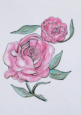Painting - Pretty And Pink Roses by Clyde J Kell