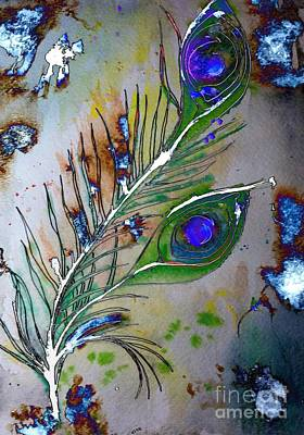 Art Print featuring the painting Pretty As A Peacock by Denise Tomasura