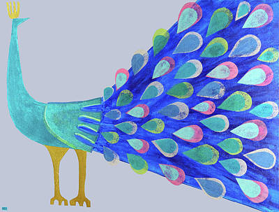 Mixed Media - Pretty As A Peacock by Kristy Hansen