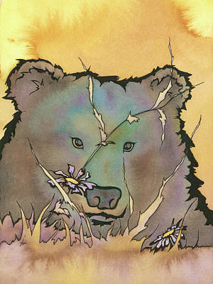 Wall Art - Mixed Media - Pretty Bear by Lisa Burvant