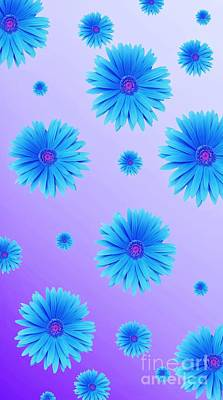 Digital Art - Pretty Blue Flowers On Purple by Rachel Hannah