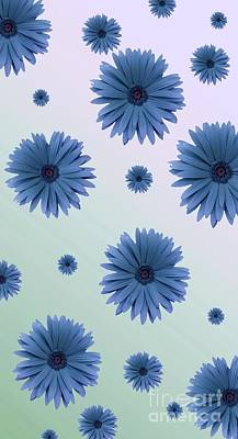 Digital Art - Pretty Blue Flowers by Rachel Hannah