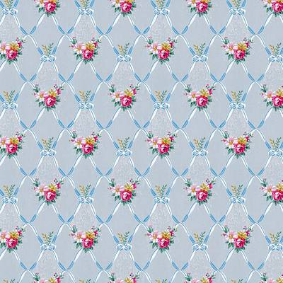 Digital Art - Pretty Blue Ribbons Rose Floral Vintage Wallpaper by Tracie Kaska