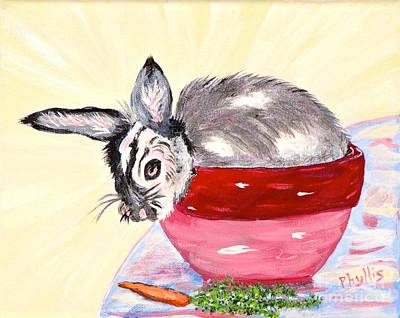 Painting - Pretty Bowl Bunny by Phyllis Kaltenbach