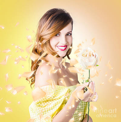 Photograph - Pretty Brunette Female Holding Magic Rose Blossom by Jorgo Photography - Wall Art Gallery