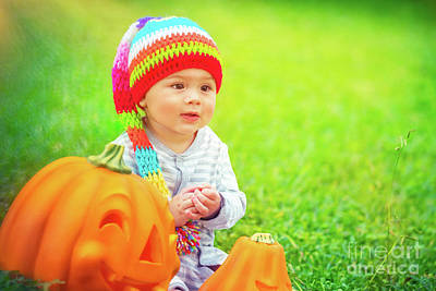 Photograph - Pretty Child With Halloween Pumpkins by Anna Om