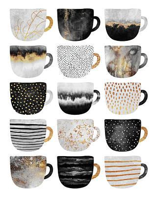 Tea Cup Wall Art - Digital Art - Pretty Coffee Cups 4 by Elisabeth Fredriksson