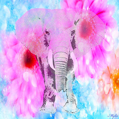 Painting - Pretty Elephant In Pink by Saundra Myles