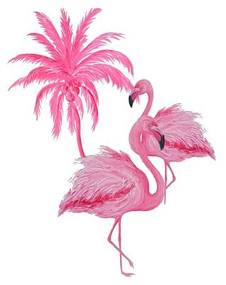 Animals Paintings - Pretty Flamingos by Jan Matson