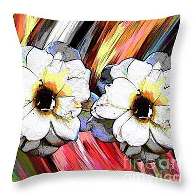 Digital Art - Pretty Flowers Throw Pillow by Gayle Price Thomas