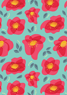 Digital Art - Pretty Flowers With Bright Pink Petals On Blue by Boriana Giormova