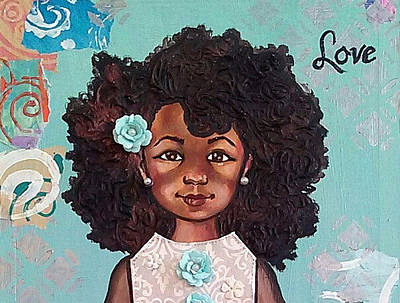 Cradle Board Painting - Pretty Girl 1 by Iiadonnasanova Owens-Williamson