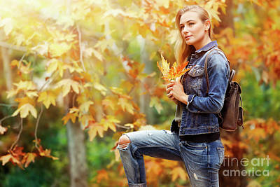Photograph - Pretty Girl In Autumn Park by Anna Om