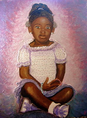 Keenya Woods Painting - Pretty Girl In Purple  by Keenya  Woods