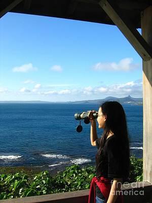 Pretty Girl Looking Through Binoculars Art Print by Yali Shi