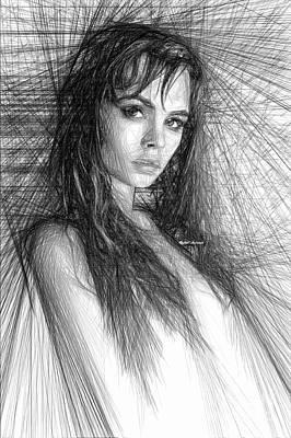 Digital Art - Pretty Girl Sketch by Rafael Salazar