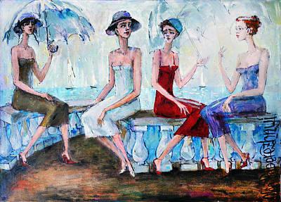 Painting - Pretty Girls by Oleg  Poberezhnyi