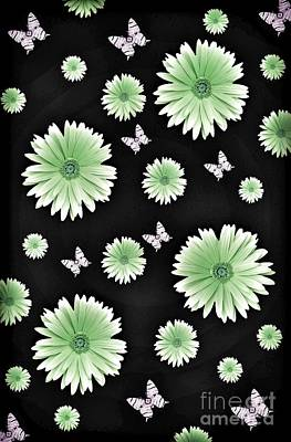 Digital Art - Pretty Green Flowers On Black by Rachel Hannah
