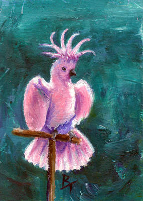 Painting - Pretty In Pink Aceo by Brenda Thour