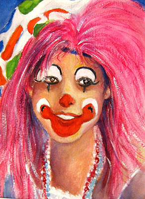 Female Clown Painting - Pretty In Pink by Myra Evans