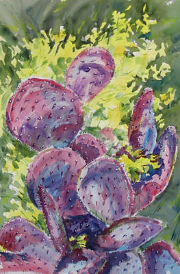 Prickly Pear Painting - Pretty In Pink by Sandy Tracey
