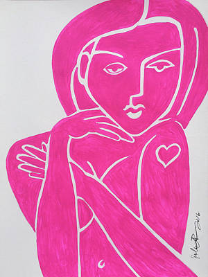Painting - Pretty In Pink Tattoo Girl Poster Print  by Robert R Splashy Art Abstract Paintings