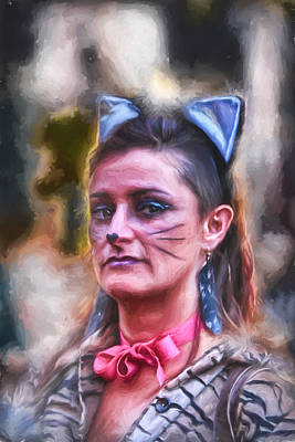 Digital Art - Pretty Kitty In The Park by John Haldane