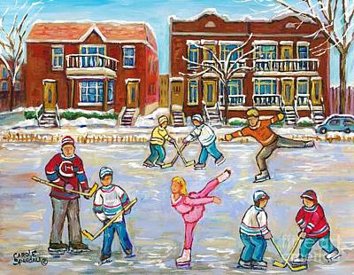 Painting - Pretty Little Pink Skater And Hockey Dad Share Ice Time Snowy Montreal Duplexes C Spandau Art by Carole Spandau