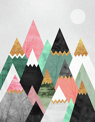 Mountains Wall Art - Digital Art - Pretty Mountains by Elisabeth Fredriksson