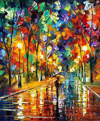 Pretty Night - Palette Knife Oil Painting On Canvas By Leonid Afremov Print by Leonid Afremov