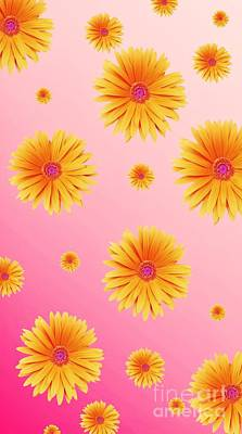 Digital Art - Pretty Orange Flowers On Pink by Rachel Hannah