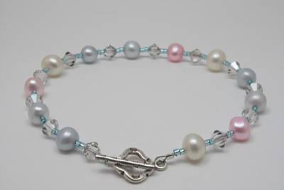 Sterling Silver Bracelet Jewelry - Pretty Pastel Pearls by Jerri Nielsen