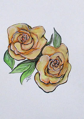 Painting - Pretty Peach Roses by Clyde J Kell