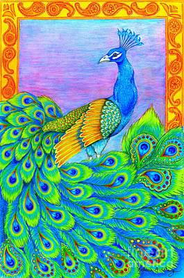 Drawing - Pretty Peacock by Rebecca Wang