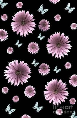 Digital Art - Pretty Pink Flowers On Black by Rachel Hannah