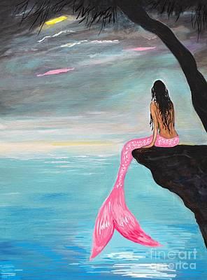 Painting - Pretty Pink Mermaid by Leslie Allen